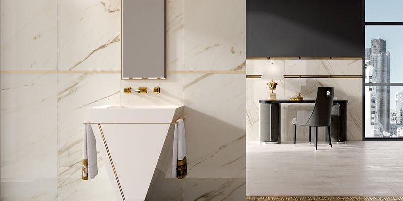 Versace Ceramics łazienka w zdobieniach i oranamentach