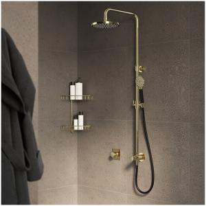 Hotbath Cobber M438 Kolumna prysznicowa z przyłączem, deszczownicą okrągłą 20cm, wężem prysznicowym i słuchawką prysznicową 9cm