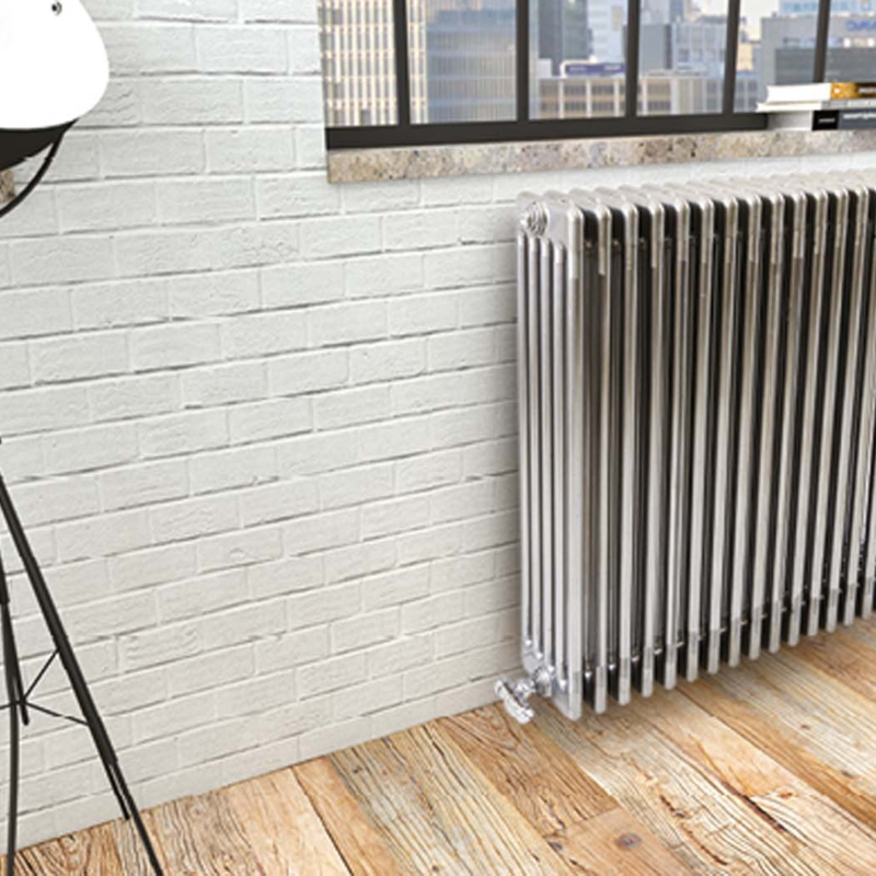 Cordivari ardesia chrome silver column tubular radiator grzejnik dekoracyjny beżowy