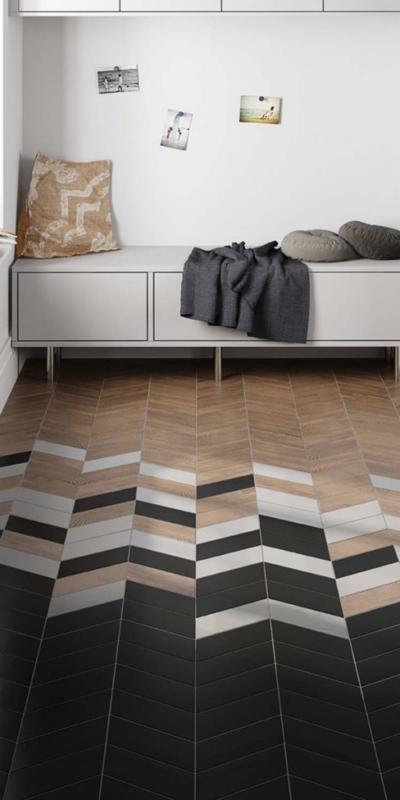Equipe ceramicas chevron negro blanco woodold hall płytki ceramiczne ceramika okładzina ścienna