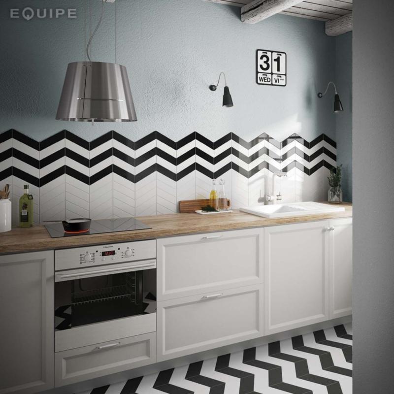 Equipe ceramicas tribeca chevronwall chevron wall kitchen płytki ceramiczne ceramika okładzina ścienna