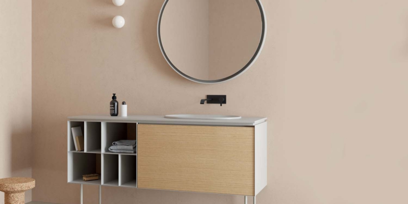 Nic design lama 150 steel cabinet ceramic top and mdf module szafka zintegrowana łazienkowa