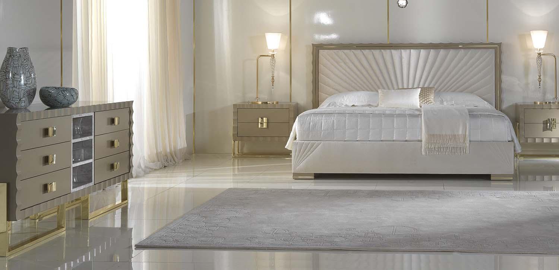 Zanaboni celeste contemporary bedroom sypialnia łóżko konsola komoda