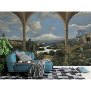 Tapeta Skinwall AFRICA 92 z kolekcji Peeking Nature motywy: słynne obrazy, krajobraz, rośliny, zwierzęta, kwiaty, chmury, kolory: niebieski, zielony, żółty, pomarańczowy