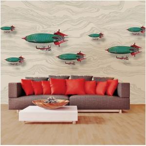 Tapeta Skinwall AIRSHIPS 38 z kolekcji Travelling Mind motywy: chmury, pojazdy mechanizmy instrumenty, kolory: beżowy, niebieski, czerwony