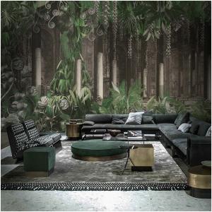 Tapeta Skinwall AMAZONIA 91 z kolekcji Peeking Nature motywy: dżungla, rośliny, liście, kwiaty, kolory: brązowy, zielony