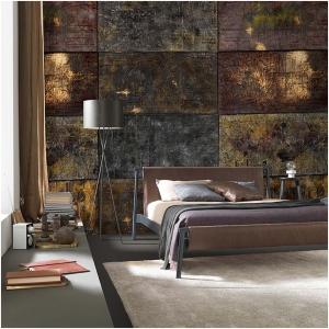 Tapeta Skinwall ANATOMIA DEL COSMO 701 z kolekcji Suite Collection motywy: abstrakcja, kamień, metal, kolory: brązowy, żółty, szary, grafitowy