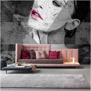 Tapeta Skinwall AUTUMN 100 z kolekcji Natural Beauty motywy: portret, geometryczny, kolory: sszary, grafitowy, różowy