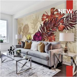 Tapeta Skinwall AUTUMN FLOWERS 754 z kolekcji New Designs 2021 Suite Collection motywy: liście, rośliny, kwiaty, dżungla, kolory: beżowy, brązowy, pomarańczowy, zielony