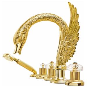 Stella kolekcja SWAN 3256TR308 24 karatowe złoto Bateria wannowo prysznicowa nawannnowa lub nablatowa z zaworem przłączającym wanna-prysznic i słuchawką prysznicową