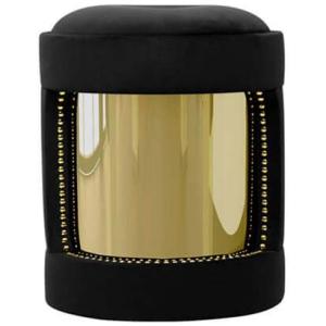 ARMOUR nowoczesny stołek bawełna, mosiądz kolor czarny, złoty