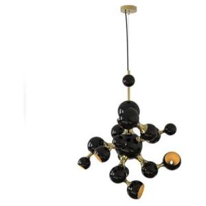 ATOMIC ROUND nowoczesna lampa sufitowa wisząca - żyrandol aluminium, mosiądz kolor czarny, złoty