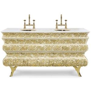 CROCHET Szafka na dwie umywalki mosiądz, marmur kolor biały, kremowy,