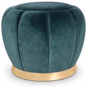 FLORENCE nowoczesny stołek tkanina, mosiądz polerowany kolor zielony, złoty