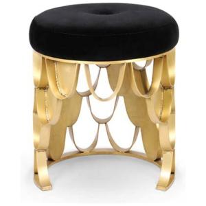 KOI nowoczesny stołek aksamit, szczotkowany mosiądz kolor czarny, złoty
