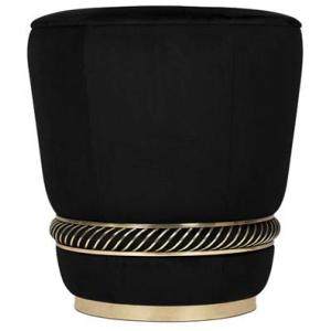 NOIR nowoczesny stołek aksamit, mosiądz kolor czarny, złoty