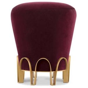 NUI nowoczesny stołek aksamit, mosiądz, mosiądz szczotkowany kolor mosiężny, czerwony