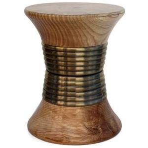 PADAUNG nowoczesny stołek drewno, mosiądz szczotkowany kolor brązowy