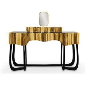 SINUOUS Toaletka oryginalne wzornictwo mahoń, mosiądz polerowany kolor czarny, złoty, srebrny