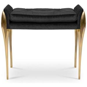 STILETTO nowoczesny stołek aksamit, mosiądz kolor czarny, mosiężny, złoty