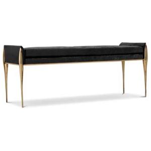STILETTO nowoczesny stołek aksamit, mosiądz kolor czarny, złoty