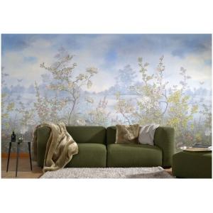 Marburg Domotex  30970  Mural krajobraz z jeziorem krzewy kwiaty rośliny błękitny biały zielony różowy mural o szerokości 200 cm  i długości 300 cm  tekstylna winylowa