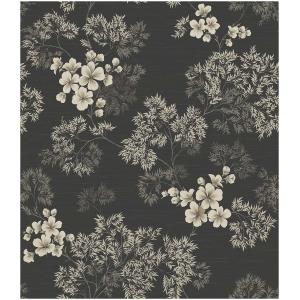 Wallquest Barclay Butera  WBP10100 Tapeta kwiaty liście rośliny czarny grafitowy szary biały tapeta o szerokości 52 cm  i długości 10 m  winylowa