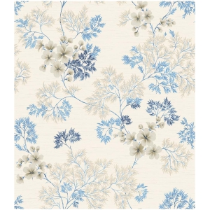 Wallquest Barclay Butera  WBP10102 Tapeta kwiaty liście rośliny niebieski szary tapeta o szerokości 52 cm  i długości 10 m  winylowa