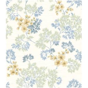 Wallquest Barclay Butera  WBP10104 Tapeta kwiaty liście rośliny niebieski biały zielony beżowy tapeta o szerokości 52 cm  i długości 10 m  winylowa